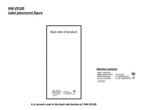 Sony NW-ZX100 FCC Label