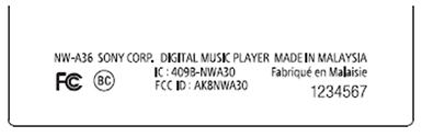 sony-walkman-a30-fcc-label