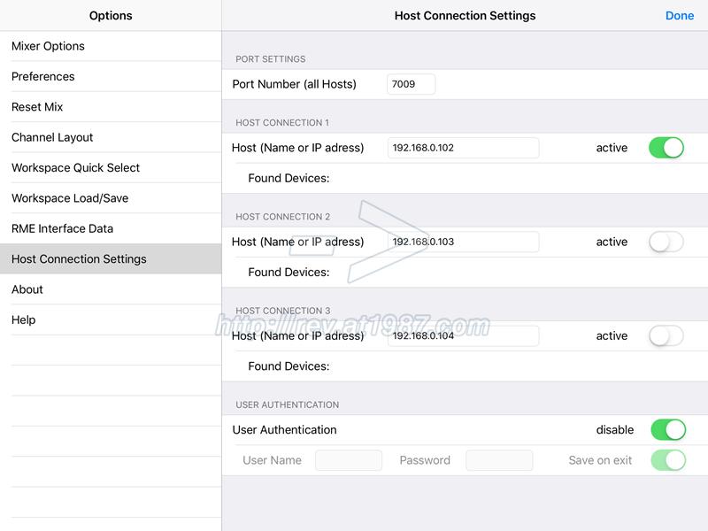 RME TotalMix Remote iPad App – Option